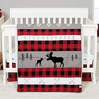 Lumberjack Moose Forest Animal Theme Buffalo Plaid 3 Piece Baby Crib Bedding Set