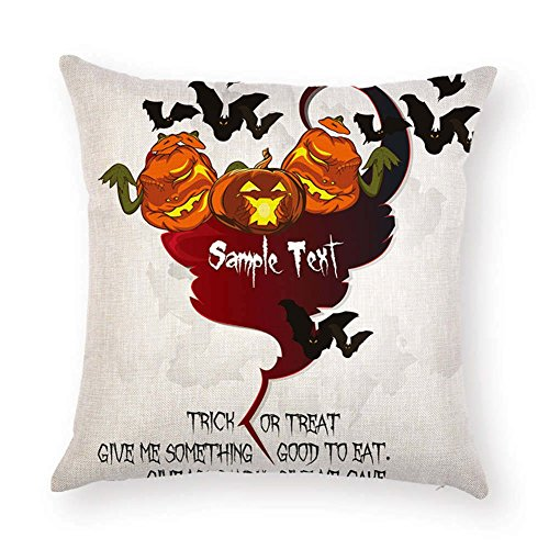 BIBITIME TRICK OR TREAT GIVE ME SOMETHING GOOD TO EAT Halloween Throw Pillow Covers Ghost Pumpkins Bats Decorative Cushion Cases Pillowcase Square 17.72 x 17.72 -