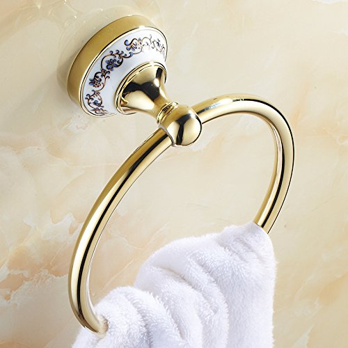 ZnzbztTowel Rack Keyboard Drawer Towel Ring towel Perforated Stainless steel circle space aluminum Gold