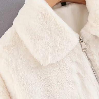 VJGOAL Mujeres Invierno Moda Casual Cálido Imitación de Piel de Conejo Gruesa Corta Cremallera Solapa Abrigo de Piel Chaqueta Parka Cárdigan(S, ...