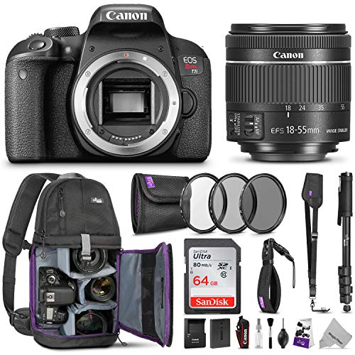 - Canon EOS Rebel T7i DSLR Camera with 18-55mm is STM Lens w/Advanced Photo & Travel Bundle - Includes Canon USA Warranty, Altura Photo Backpack, SanDisk 64gb SD Card, Monopod, Filter Kit, Neck Strap