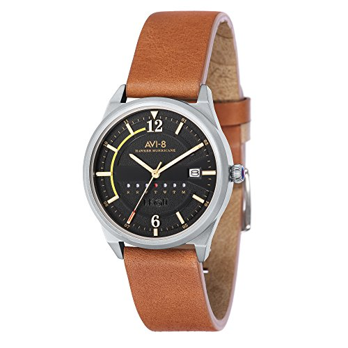 AVI-8 Men's AV-4044 Hawker Hurricane Stainless Steel Japanese Quartz Leather Watch (Black/Brown)