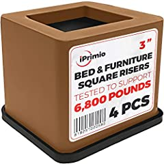 New Brown Bed. Desk, Couch, Chair Riser / Lift (Pat. Pending) STRONGEST Won't Crack, Rubber Bottom Won't Scratch Floors, Stand Assist, Tested to Support +6,800 Pounds (4 Pack, Brown)  REGISTERED BRAND - HEAVY DUTY BASE: It Won't Crack Like Ot...