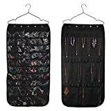 Hanging Jewelry Organizers - Realdios Non-Woven Hanging Closet Accessory Jewelry Holder Organizer Folding Travel Storage Bag for Hanging Necklace Earrings Ring Bracelet(40pocket-Black)