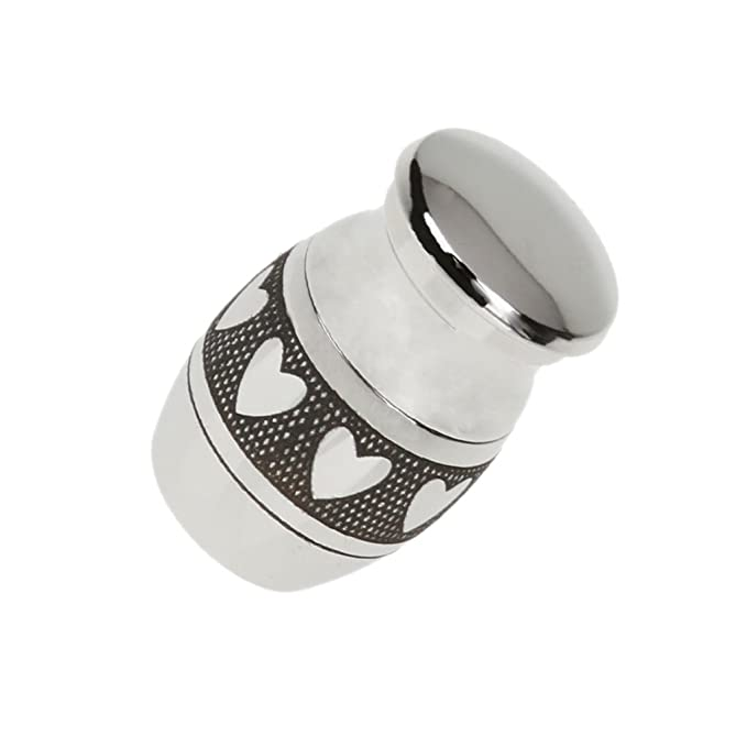Homyl Pack Of 2 Mini Stainless Steel Metal Cremation Jewelry Urn Ash Holder Jar Waterproof Love Heart//Always In Heart