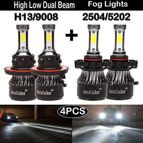 H13/9008 and 2504/5202 LED Headlights Bulbs High Low Dual Beam Fog Lights Lighting Accessories Conversion Kit,7200lms For 2007-2018 Jeep Wrangler,6000K Pure White 2Pairs