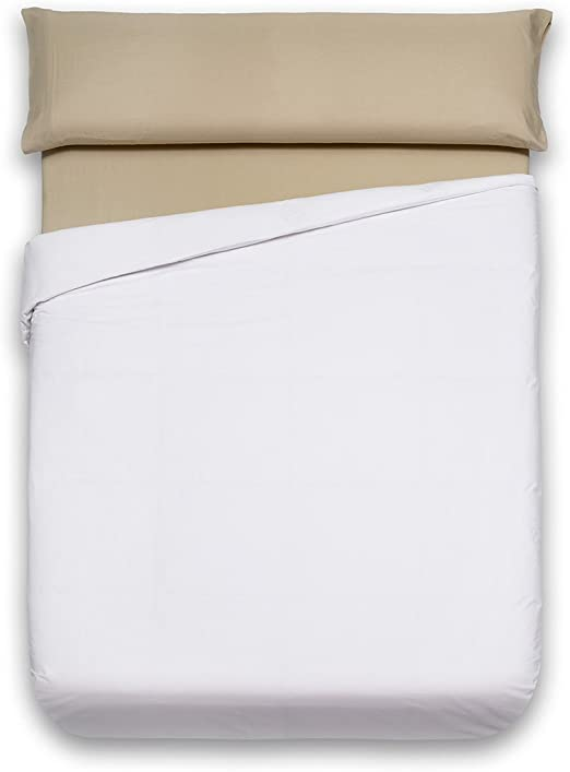 Sancarlos - Funda nórdica lisa, 100% Algodón, Color blanco, Cama de 135 cm: Amazon.es: Hogar
