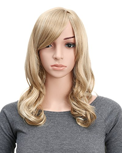 OneDor Full Head Beautiful Long Curly Wave Stunning Wig Charming Curly Costume Wigs with Fringe (24H613 Blonde Highlights)]()