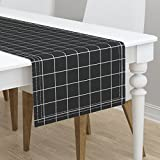 Table Runner - Black and White Grid Squares Check Black White Windowpane by Peacoquettedesigns - Cotton Sateen Table Runner 16 x 108