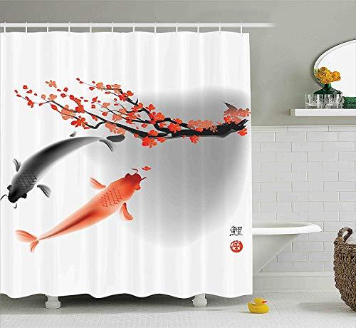 SPXUBZ Japanese Koi Carp Fish Couple Swimming Cherry Blossom Sakura Branch Culture Design Orange Grey Shower Curtain Waterproof Bathroom Decor Polyester Fabric Curtain Sets -