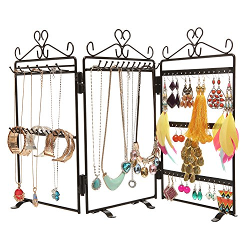 MyGift 3-Panel Folding Metal Jewelry Hanger Stand with Scrollwork Heart Design, Black
