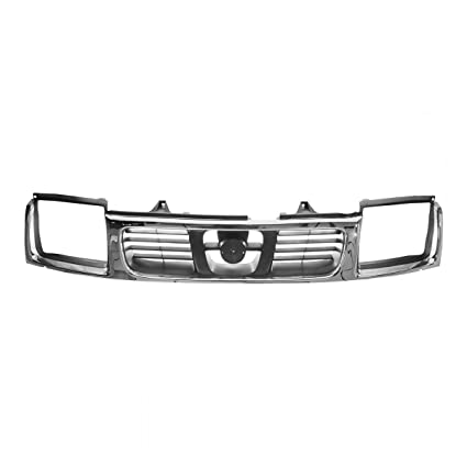d3d3fc3013cbf Grille Grill Chrome & Silver Front for 98-00 Nissan Frontier Pickup Truck