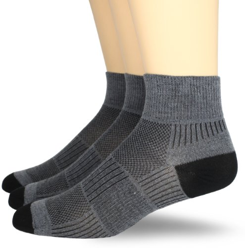 Wrightsock Men's Coolmesh Ii Quarter 3 Pack Socks, Grey, X-Sock Size:10-13/Shoe Size: 6-12