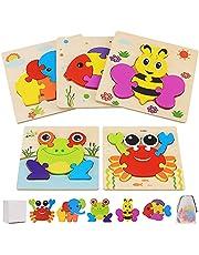 Träpussel för småbarn 1 2 3 4-åringar, 5 st Montessori-leksak trä djur pusselset pedagogiskt lärande leksaker och gåvor för barn barn