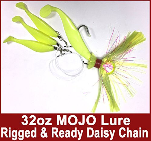 Blue Water Candy – Rock Fish Candy 32 oz Cannonball (Chartreuse) Mojo Striper Daisy Chain Lure, Loaded with 9-Inch Swimbait Shad Body&3 x 6-Inch Trailing Shads – Rigged&Ready (Chartreuse)