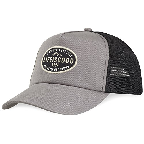 Life is good Mesh Back Chill Get Lost Oval Patch Hat, Slate Gray, One Size (Good Trucker Hat)