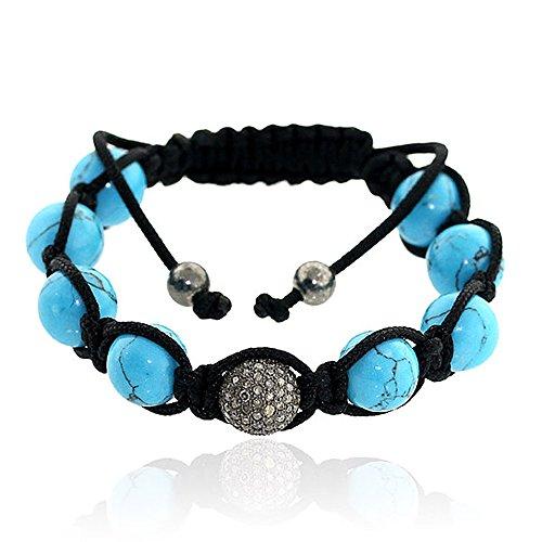 925 Sterling Silver Turquoise Diamond Beaded Macrame Bracelet for