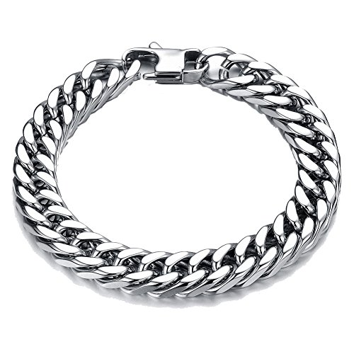 Curb Bracelet Double - Men's Stainless Steel Round Curb Chain Link Wrist Bracelet Silver Tone for Birthday Gifts (10MM, 8.3inch)