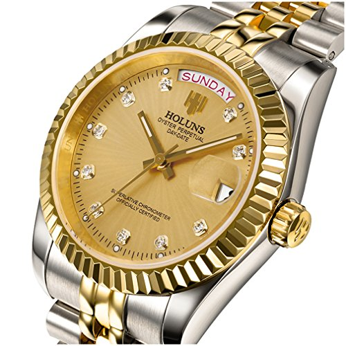 Watch Gold Transparent (Mens Luxury Luminous Automatic Stainless Steel Band Transparent Backcover Calendar Diamonds Gold Watches (Silver Gold-Gold))