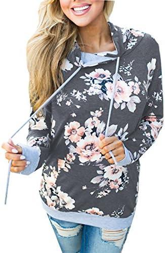 wd-amour Floral de la mujer casual Cordón de impresión sudadera con capucha de manga larga Pullover Sudaderas