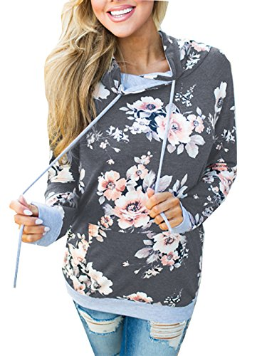 Famulily Women's Floral Printed Casual Long Sleeve Hoodie Pullover Sweatshirts(Dark Grey,Large)