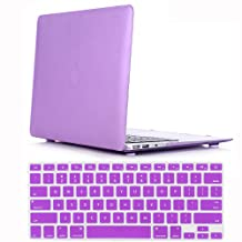 "Case for Mac Air 13"" - iZi Way Smooth Finish Soft-Skin Ultra Slim Plastic Matte Case + Pure Purple Keyboard Skin for Macbook Air 13 Inch (Model: A1369 and A1466) - Purple"