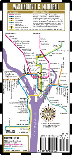 Streetwise Washington DC Metro Map - Laminated Washington DC Metrorail Map - Folding pocket & wallet size metro map for - Malls Washington Dc Area