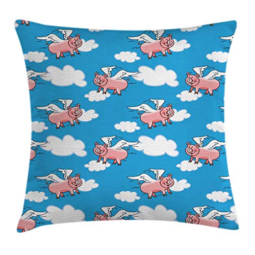 "Ambesonne Pig Throw Pillow Cushion Cover, Flying Pig Cartoon Style Characters with Wings The Saying Kid Clouds Cartoon Style Print, Decorative Square Accent Pillow Case, 20"" X 20"", Blue Pink"