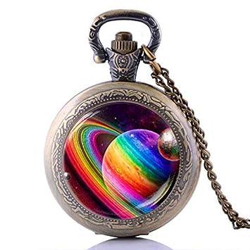 Reloj de bolsillo vintage con diseño de planeta arcoíris hecho a mano para Galaxy Jewelry, bronce, cuarzo: Amazon.es: Hogar