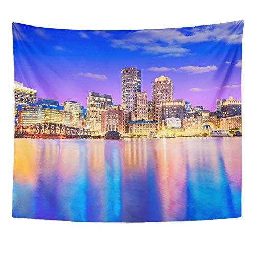 Emvency Tapestry Polyester Fabric Print Home Decor The Boston Skyline at Night Located in Fan Pier Park Massachusetts USA Wall Hanging Tapestry for Living Room Bedroom Dorm 50x60 Inches