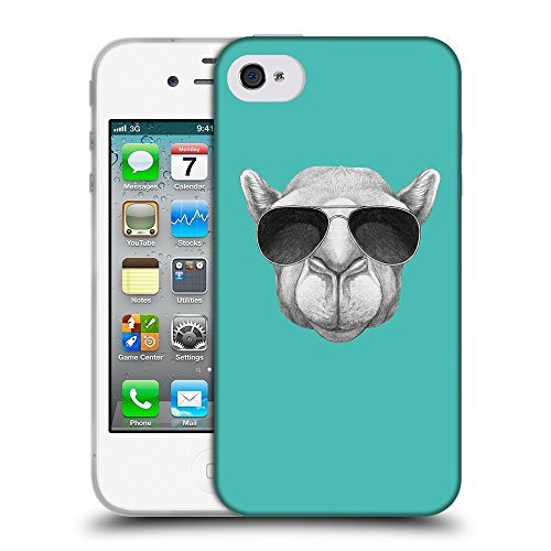 GoGoMobile Coque de Protection TPU Silicone Case pour // Q05460634 Chameau soleil Turquoise // Apple iPhone 4 4S 4G