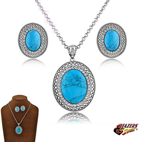 Dogeared Round Necklace - Blazers Jewelry 1985 - Set of Blue Vintage Bridesmaid Eternity Love - Round Pendant Cubic Zirconia Necklace and Earrings 18k White Gold Plated Alloy Wedding Party Costume in Blazers Street Style