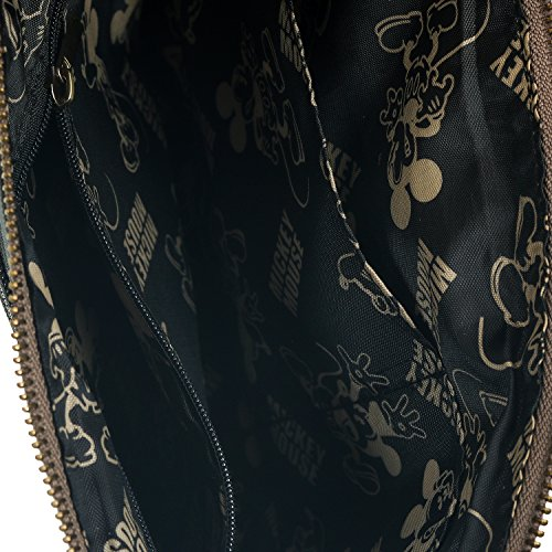 ililily Round Shoulder Disney Faux Dark Leather Mouse Cross Body Grey Bag Mickey Patch XwXAznr