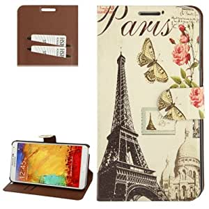 Eiffel Tower Pattern Ultra Thin-Funda Leather Case Cover con bolsillos interiores & Holder para Samsung Galaxy Note 3 N9000