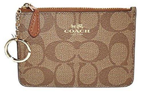 Coach Khaki Saddle Signature PVC Key Coin Pouch Wallet Case 63923