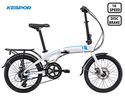 KESPOR Venture Folding Bike Commuter, Rear Rack, Folding 16 Speed Bike City Aluminum, Disc Brake, 20-Inch Wheels (White)