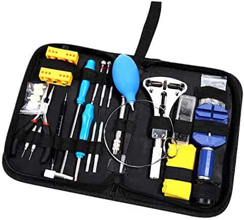 Ohuhu 176 PCS Watch Repair Tool Kit, Professional Watch Case Opener Spring Bar Tool Set, Watch Band Link Pin Watch Battery Replacement Tools Set with Carrying Case