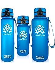 MIGHTY PEAKS Tritan sportowa butelka na napoje 650 ml, bez BPA, wkładka na owoce, sitko na owoce, niebieska, butelka do picia dla dzieci, butelka sportowa na rower, fitness, dla dzieci, do uprawiania sportu