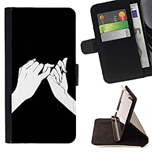 Momo Phone Case / Flip Funda de Cuero Case Cover - Significado Manos Dibujo Tinta Negro - Sony Xperia Z5 5.2 Inch (Not for Z5 Premium 5.5 Inch)