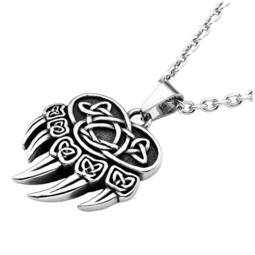 Bear Steel Stainless (Zysta Celtic Knot Norse Mythology Bear Claw Paw Stainless Steel Pendant Necklace with 24inch Chain)