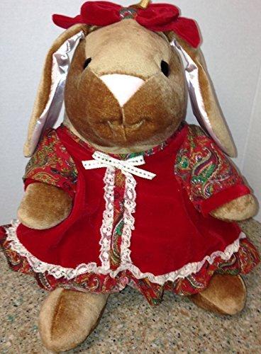 (The Velveteen Rabbit Red Velvet Dress Hair Bow Toys R Us 1985 Rabbit Ears Holiday Plush 14