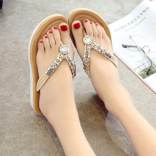 Womens Mode Strand Sandaler Platta Badskor Tofflor Flip Flops Sommarskor