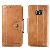 Galaxy S7 Edge Case, Lensun Genuine Leather Wallet Magnetic Flip Case Cover for Samsung Galaxy S7 Edge 5.5' - Brown (S7E-GT-BN)