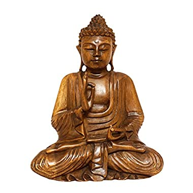 13  Wooden Serene Meditating Buddha Art Statue Hand Carved Sculpture Home Decor
