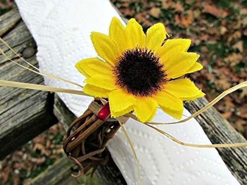 Sunflower, Red Berry and Straw Napkin Ring Holders for Fall Wedding Table Decoration (Set of 4, 6, 8, 10 or 12)
