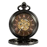 ManChDa Automatic Mechanical Skeleton Pocket Watch Black Hollow Phoenix Case Men Roman Numerals