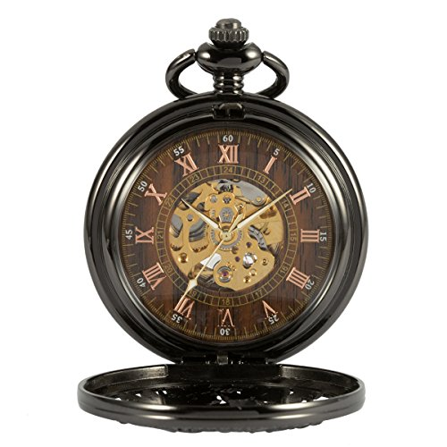 Pocket Watch - ManChDa Automatic Mechanical Skeleton Pocket Watch Black Hollow Phoenix Case Men Roman Numerals