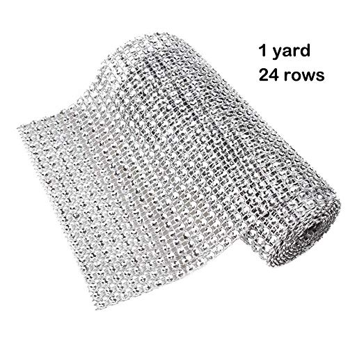 Best Quality - Party DIY Decorations - 1 Yard Bling Diamond mesh Wrap Ribbon Silver Rhinestone Mesh Roll Tape Tulle Crystal Ribbon Cake Wedding Christmas Decoration - by Olwen Shop - 1 PCs -