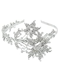 Ever Faith Wedding Leaf 2 Flower Headband Clear Austrian Crystal Silver-Tone N02730-1