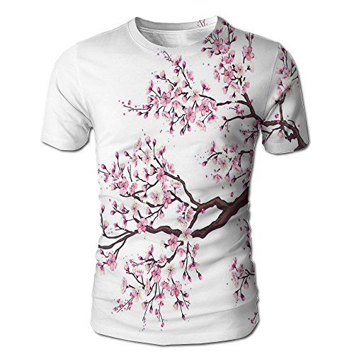 Flourishing Blossoms - Edgar John Branch Of A Flourishing Sakura Tree Flowers Cherry Blossoms Spring Theme Art Men's Short Sleeve Tshirt M
